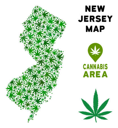 Ganja New Jersey State map composition of marijuana leaves. Narcotic addiction concept. Vector New Jersey State map is created of green ganja leaves.