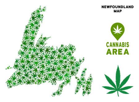 Ganja Newfoundland Island map composition of marijuana leaves. Narcotic addiction template. Vector Newfoundland Island map is formed of green herbal leaves.