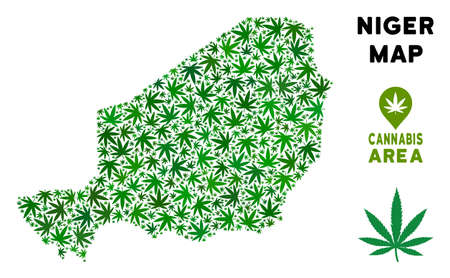 Cannabis Niger Map Collage Of Marijuana Leaves. Narcotic Addiction ...