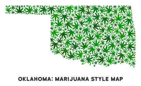 Cannabis Oklahoma State map mosaic of marijuana leaves. Narcotic distribution concept. Vector Oklahoma State map is created of green cannabis leaves. Abstract geographic scheme in green color tinges. Vector Illustration