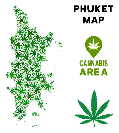 Weed Phuket map composition of marijuana leaves. Narcotic dependence concept. Vector Phuket map is created of green ganja leaves. Abstract geographic scheme in green color shades. Фото со стока - 103663254