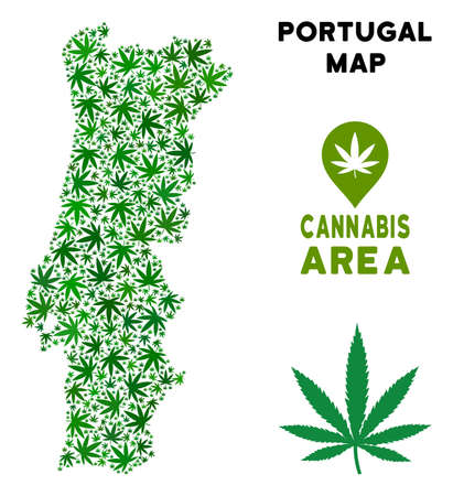 Ganja Portugal map composition of marijuana leaves. Narcotic addiction concept. Vector Portugal map is formed of green ganja leaves. Abstract geographic scheme in green color hues. Illustration