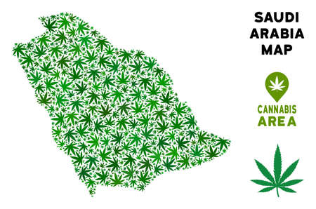 Weed Saudi Arabia map mosaic of marijuana leaves. Narcotic dependence template. Vector Saudi Arabia map is formed of green herbal leaves. Abstract territorial scheme in green color shades.