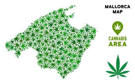 Ganja Spain Mallorca Island map collage of marijuana leaves. Narcotic distribution concept. Vector Spain Mallorca Island map is organized of green herbal leaves.