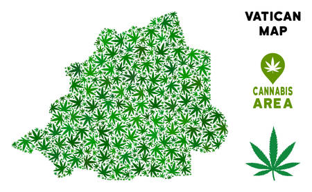 Weed Vatican map composition of marijuana leaves. Narcotic addiction template. Vector Vatican map is formed of green weed leaves. Abstract area scheme in green color tinges. Çizim