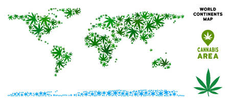 Ganja world continent map collage of marijuana leaves. Narcotic addiction concept. Vector world continent map is done of green ganja leaves. Abstract area plan in green color shades. Illustration