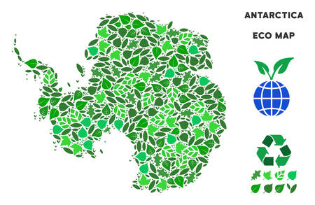 Eco Antarctica map mosaic of floral leaves in green color tinges. Ecological environment vector template. Antarctica map is made from green floral parts. Abstract geographic plan.