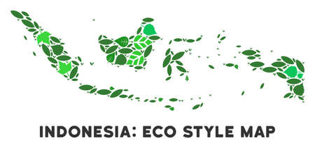 Eco Indonesia map mosaic of floral leaves in green color tinges. Ecological environment vector template. Indonesia map is formed of green floral items. Abstract territory scheme.