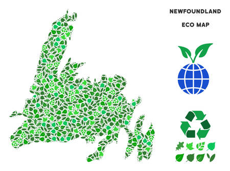 Ecology Newfoundland Island map composition of herbal leaves in green color variations. Ecological environment vector template. Newfoundland Island map is formed of green herbal elements. Illustration