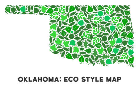 Ecology Oklahoma State map composition of herbal leaves in green color hues. Ecological environment vector concept. Oklahoma State map is formed of green herbal icons. Abstract area plan. Ilustração