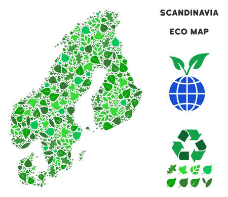 Eco Scandinavia map composition of floral leaves in green color tinges. Ecological environment vector concept. Scandinavia map is designed with green floral parts. Abstract geographic scheme.