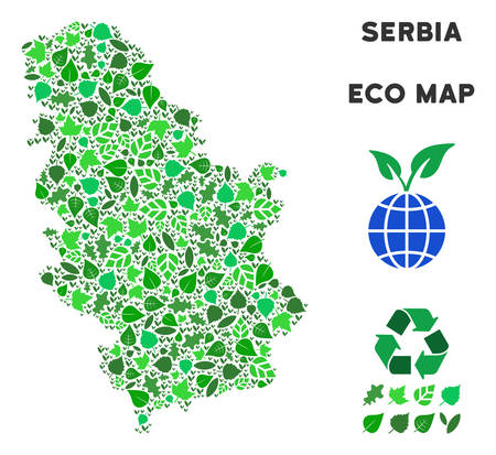 Ecology Serbia map collage of herbal leaves in green color tones. Ecological environment vector template. Serbia map is made from green herbal items. Abstract territorial plan.