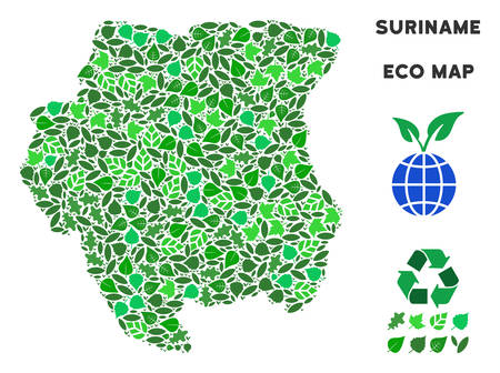 Eco Suriname map composition of floral leaves in green color tones. Ecological environment vector concept. Suriname map is organized from green floral items. Abstract geographic scheme.