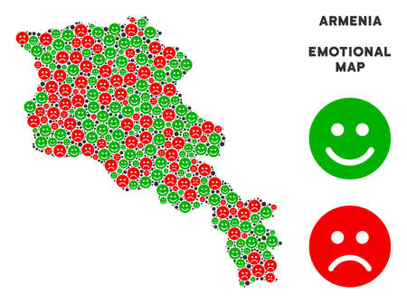 Emotional Armenia map mosaic of smileys in green and red colors. Positive and negative mood vector concept. Armenia map is formed of red sad and green positive emotion symbols.