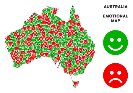 Happiness and sorrow Australia map mosaic of smileys in green and red colors. Positive and negative mood vector concept. Australia map is formed of red sorrow and green glad icons. Illustration