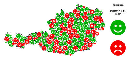 Happiness and sorrow Austria map composition of emojis in green and red colors. Positive and negative mood vector template. Austria map is formed of red upset and green happy emotion symbols. Ilustração
