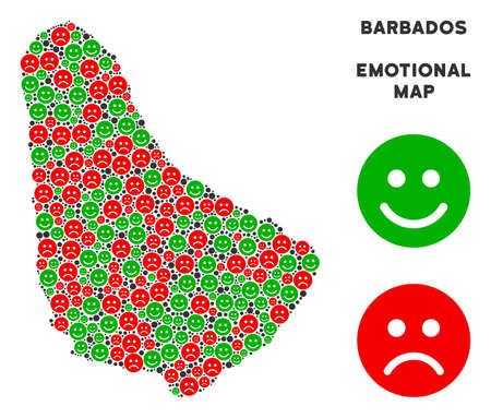 Happiness and sorrow Barbados map mosaic of emojis in green and red colors. Positive and negative mood vector concept. Barbados map is composed from red sorrow and green joy icons. Illustration