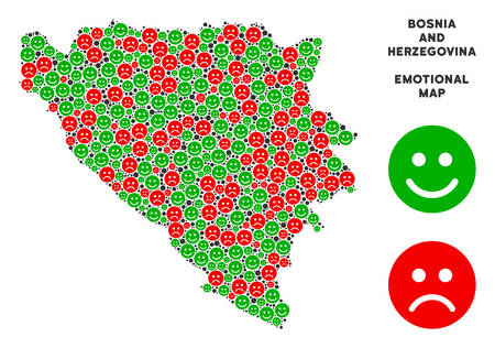 Happiness and sorrow Bosnia and Herzegovina map composition of emojis in green and red colors. Positive and negative mood vector concept. Illustration