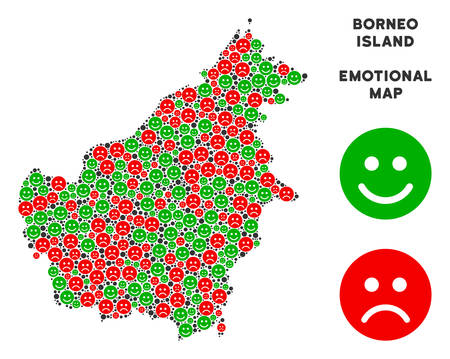 Emotion Borneo Island map composition of emojis in green and red colors. Positive and negative mood vector concept. Borneo Island map is formed of red upset and green cheerful emotion symbols.