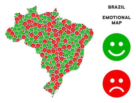 Felicidad y tristeza Brasil mapa composición de emoticonos en colores verde y rojo. Concepto de vector de estado de ánimo positivo y negativo. El mapa de Brasil está formado por iconos rojos molestos y verdes alegres.