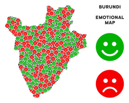 Emotion Burundi map mosaic of emojis in green and red colors. Positive and negative mood vector template. Burundi map is formed of red pity and green positive emotion symbols. Illustration