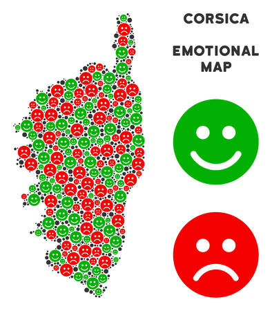 Happiness and sorrow Corsica France Island map composition of smileys in green and red colors. Positive and negative mood vector concept.