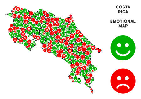 Happiness and sorrow Costa Rica map composition of emojis in green and red colors. Positive and negative mood vector concept. Costa Rica map is formed of red sad and green positive icons.