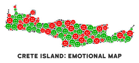 Emotion Crete Island map collage of emojis in green and red colors. Positive and negative mood vector template. Crete Island map is formed of red sad and green positive emotion symbols.