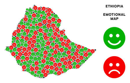 Happiness and sorrow Ethiopia map collage of emojis in green and red colors. Positive and negative mood vector template. Ethiopia map is shaped with red sorrow and green cheerful icons. Ilustração