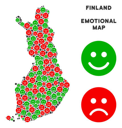 Happiness and sorrow Finland map composition of smileys in green and red colors. Positive and negative mood vector concept. Finland map is made from red pity and green positive icons.