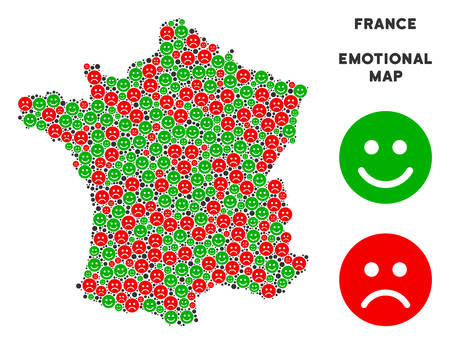 Emotion France map composition of emojis in green and red colors. Positive and negative mood vector concept. France map is organized from red unhappy and green positive emotion symbols. Illustration