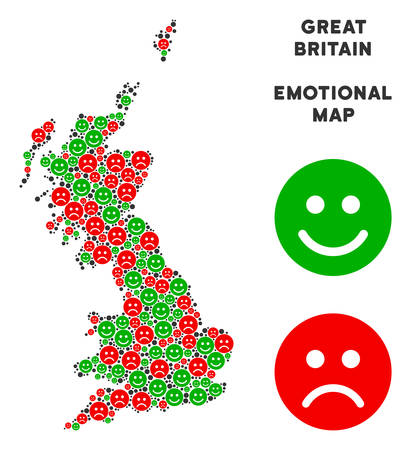 Emotion Great Britain map collage of emojis in green and red colors. Positive and negative mood vector template. Great Britain map is formed of red upset and green happy emotion symbols.