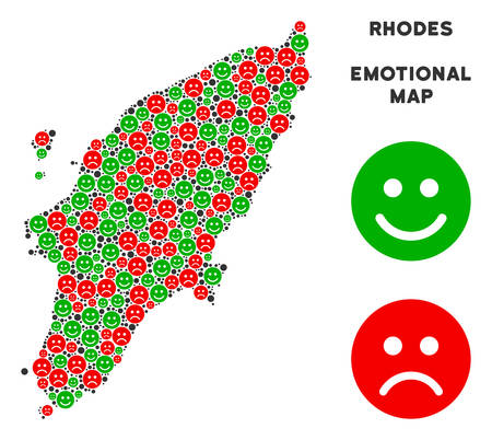 Happiness and sorrow Greek Rhodes Island map collage of smileys in green and red colors. Positive and negative mood vector concept.