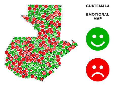 Happiness and sorrow Guatemala map mosaic of smileys in green and red colors. Positive and negative mood vector template. Guatemala map is shaped with red dolor and green positive icons.