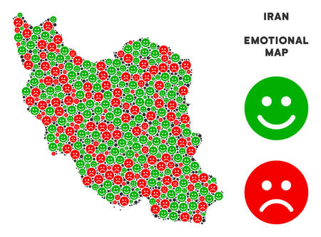 Happiness and sorrow Iran map mosaic of smileys in green and red colors. Positive and negative mood vector concept. Iran map is formed of red upset and green joy emotion symbols.