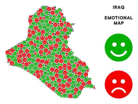 Emotion Irak carte mosaïque d'émojis dans les couleurs vertes et rouges. Concept de vecteur d'humeur positive et négative. La carte de l'Irak est en forme de symboles d'émotion positive rouge triste et vert. Plan géographique abstrait.