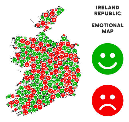 Emotion Ireland Republic map collage of emojis in green and red colors. Positive and negative mood vector template. Ireland Republic map is made from red upset and green positive emotion symbols.