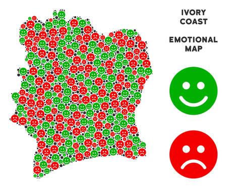 Happiness and sorrow Ivory Coast map composition of emojis in green and red colors. Positive and negative mood vector template. Ivory Coast map is formed of red upset and green glad icons.