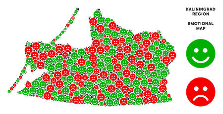 Emotion Kaliningrad Region map composition of emojis in green and red colors. Positive and negative mood vector template.