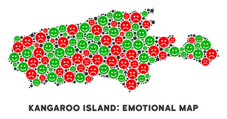 Emotion Kangaroo Island map mosaic of emojis in green and red colors. Positive and negative mood vector concept. Kangaroo Island map is shaped with red upset and green positive emotion symbols. Illustration
