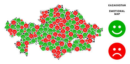 Happiness and sorrow Kazakhstan map collage of emojis in green..