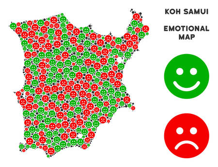 Happiness and sorrow Koh Samui map collage of emojis in green and red colors. Positive and negative mood vector template. Koh Samui map is composed from red pity and green cheerful icons.