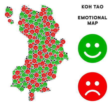 Emotion Koh Tao Thai Island map collage of smileys in green and red colors. Positive and negative mood vector template.