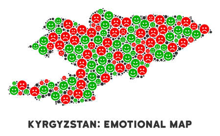 Happiness and sorrow Kyrgyzstan map mosaic of emojis in green and red colors. Positive and negative mood vector template. Kyrgyzstan map is made from red upset and green positive icons.