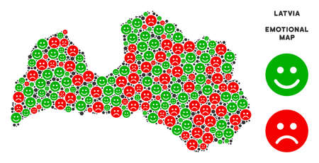 Happiness and sorrow Latvia map mosaic of smileys in green and red colors. Positive and negative mood vector concept. Latvia map is constructed from red sorrow and green glad emotion symbols. Illustration