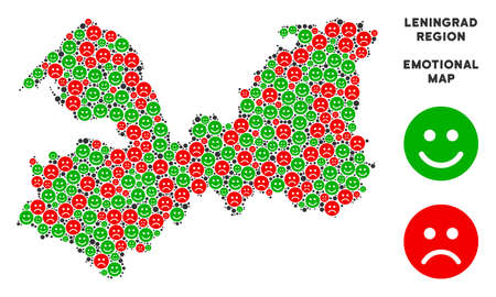 Happiness and sorrow Leningrad Oblast map composition of smileys in green and red colors. Positive and negative mood vector concept.