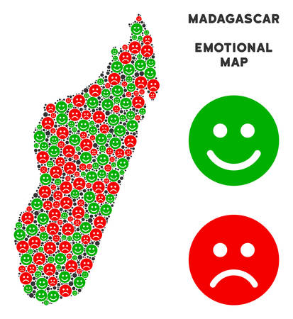 Emotion Madagascar Island map composition of smileys in green and red colors. Positive and negative mood vector template.