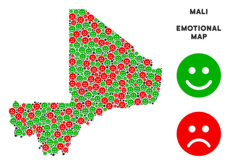 Emotion Mali map mosaic of smileys in green and red colors. Positive and negative mood vector concept. Mali map is composed from red unhappy and green happy emotion symbols. Abstract area plan.