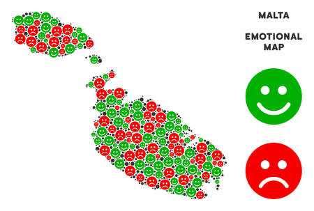 Happiness and sorrow Malta Island map mosaic of emojis in green and red colors. Positive and negative mood vector concept. Malta Island map is designed with red sorrow and green cheerful icons. 일러스트