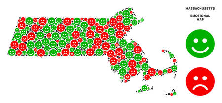 Happiness and sorrow Massachusetts State map mosaic of smileys in green and red colors. Positive and negative mood vector template. Ilustração